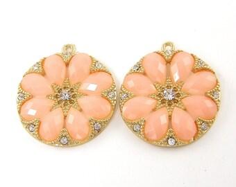 Peach Earring Finding, Peach Gold Pendant, Peach Gold Medallion Pendant Peach Clear Rhinestone Pendant, Round Peach Charm  O4-15 2
