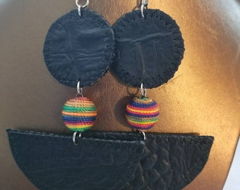 Leather Earrings with colorful bead. Earrings are lightweight.