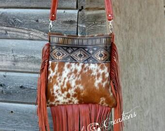 Cowhide Crossbody Bag with Fringe Sale