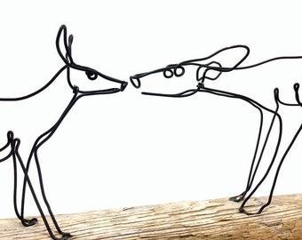 Doe and Fawn Wire Sculpture, Deer Sculpture, Wildlife Art, Minimal Sculpture, Wire Folk Art, 609421551
