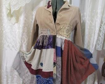 Tan Patchwork Jacket coat, bohemian hippie jacket, upcycled corduroy jacket, womens altered clothing, SMALL