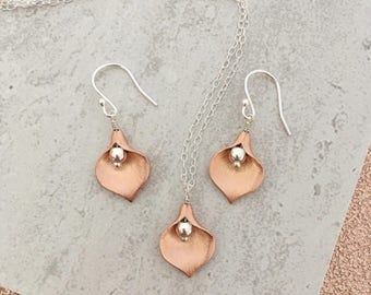 Rose Gold Calla Lilly Earrings And Necklace Set