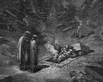 Burning Sepulchres Heresiarchs Dante Inferno, Canto 9 Vintage Hell Engraving Gustave Dore Hell Black & White