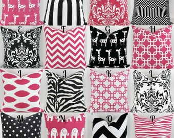 Hot Pink & Black Pillow Covers  - 18x18 - Mix/Match patterns cushion sham euro throw modern geometric custom nursery decor Premier Prints