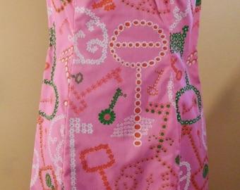 Novelty Print Keys By Shifts International of Miami Keyhole Neckline Pink Shift Dress Vintage Novelty Print