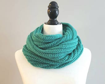 50% off - Infinity Scarf Jade Green, Crochet Scarf, Crochet Cowl