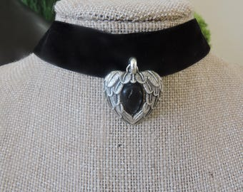 "1"" Black velvet choker with antique silver heart pendant with black marbled stone inset"