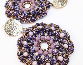 "Handmade earrings, bead weaving, blue/lilac, ""Secrets"" model, SoleMani design"