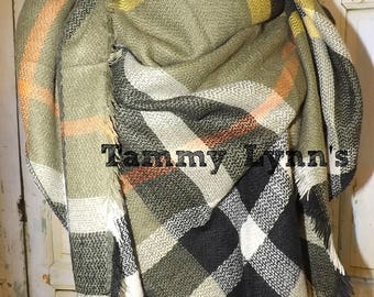 NEW!! Olive, Black, and Mustard Triangle Style  Blanket Scarf Fall Winter Gifts Women's Accessories