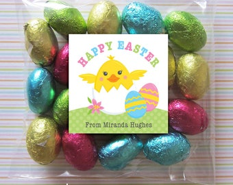 Personalized Easter Gift Tags or Stickers – DIY Printable – Hatching Chick (Digital File)