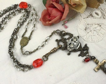 Vintage Assemblage Victorian Collage Necklace, Vintage Rosary Assemblage Necklace, Vintage Crown and Cross Necklace, Red Assemblage Necklace