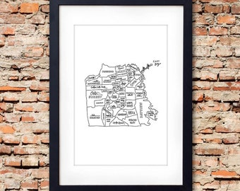 "Hand drawn San Francisco Neighborhood Map - original silkscreen print (12""x18"" White with Black ink)"