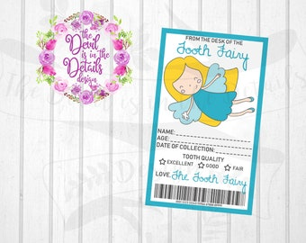 Tooth Fairy Lost Tooth Receipt Personalize Digital Design