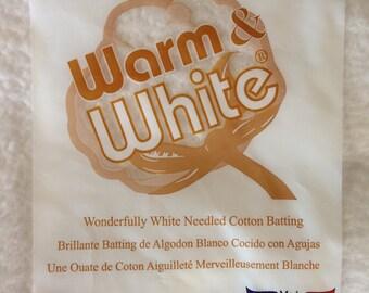 "Notions: Warm and White - Needled Cotton Batting - Craft Size 34""x45"""