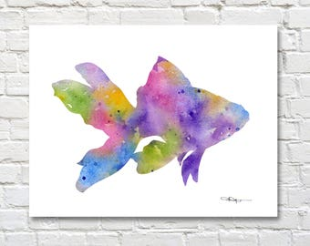 Goldfish Art Print - Abstract Watercolor Painting - Wall Decor