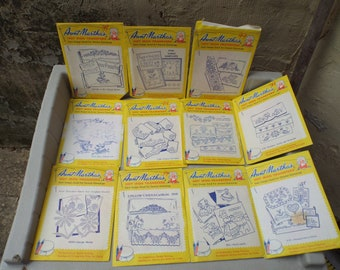 Let's do some Sewing!Big Lot 11 Aunt Martha's Iron-On Transfer Patterns Hot Iron Embroidery