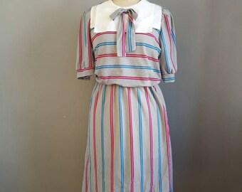 80s sailor dress / striped retro dress / boho 80s dress / midi day dress / 80s square bibbed dress / natucal vintage dress //