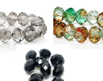 Beads, polished, faceted beads, jewelry beads, 8 x 6 mm, black, multi colored, grey