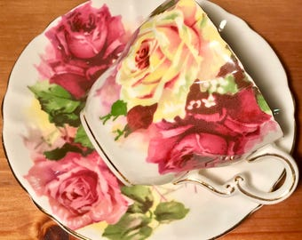 Pretty Pink Addiction-Stanley Swirled Roses Teacup and Saucer