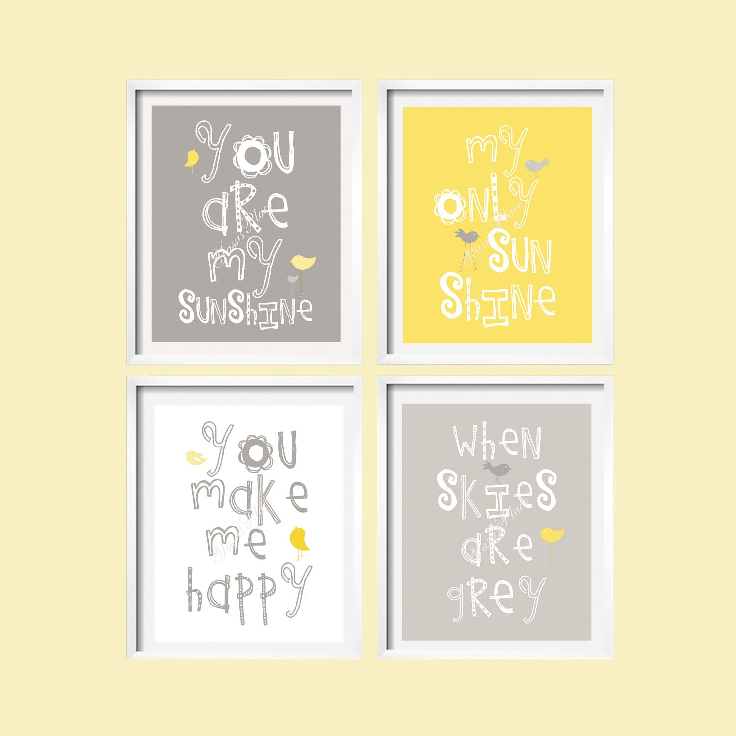 You Are My Sunshine Wall Art Prints Yellow and Gray Nursery