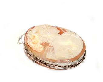 Sardonyx Shell Italian Hand Carved Cameo Brooch Pendant 800 Silver Vintage Necklace