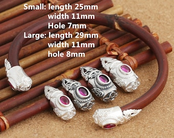 Sterling Silver Ruby End Cap, Bangle End Cap, 925 Silver End Cap for Leather, Spiral, Double Dorje Pattern - LA458