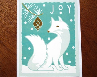 White Fox Holiday card