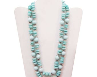 925 Sterling Silver Hand Crafted Aqua Agate Faceted Beaded Necklace Jewelry