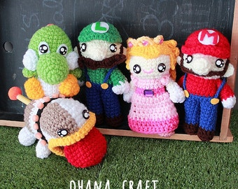 Free Shipping-Super Mario , Yoshi and Poochy inspired crochet doll,Super Mario Plushies -Made to order