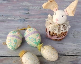 Vintage Easter Decoration, Egg Ornaments, Easter Bunny, Shabby Chic 1970's
