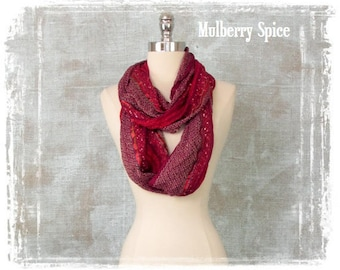 Womens Scarf, Woven Scarf, Holiday Scarf, Infinity Scarf, Mulberry