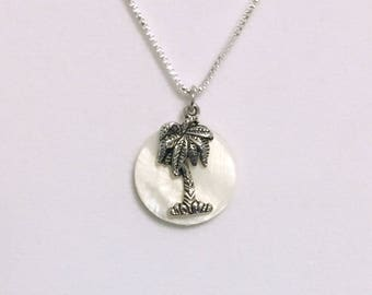 Palm Tree Necklace - Beach Necklace - Summer Necklace - Natural Shell Necklace - Beachy Necklace - Tree Necklace - Silver Plated Necklace