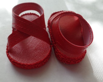 "Red 18"" Doll Sandals-Shown on my american girl doll"