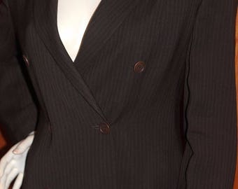 Vintage Emporio Armani Made in Italy Double Breasted Wool Blend Brown Blazer Medium