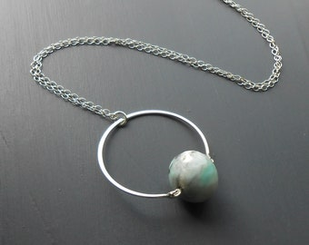 Sterling Silver Circle Pendant Necklace with Amazonite