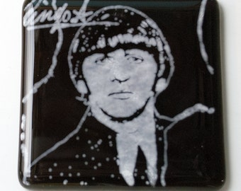 Ringo Starr Beatles Musician Fused Glass Coaster, Music, Singer, Drummer, Rock and Roll