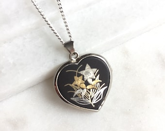 Vintage Japanese Damascene Locket Pendant Necklace