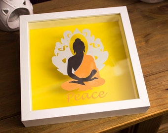 Papercut Buddha, framed papercut, shadow frame, peace, coloured papercut, paper cut wall art
