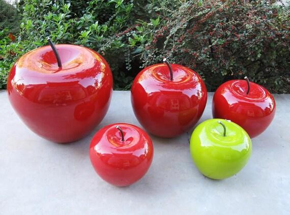 Grande ceramica apple mela rossa in ceramica con nero stelo - Decorazioni mela ...