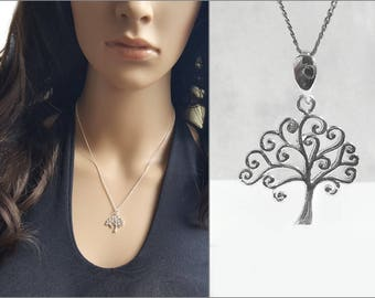 Open Work Tree Charm Necklace, 925 Sterling Silver Tree Pendant Necklace, 925 Silver, Curly Tree Charm, Nature Inspired Jewelry