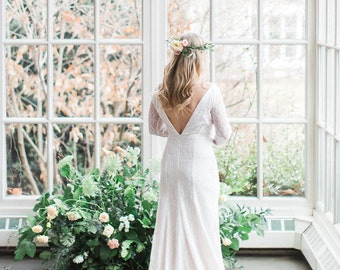 Lace Long Sleeve Wedding Gown, Fitted Modern Wedding Gown, Low Back Wedding Gown, Backless Wedding Dress