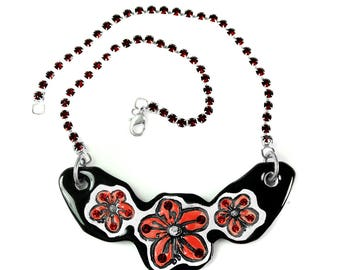 Cherry Blossom Sparkle Surly Ceramic Necklace with Red Rhinestone Chain