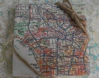 Map Coasters / Decorative Tile Coasters / Custom Map Tile Coaster 4 Piece Set / Wedding Gift / Christmas Gift