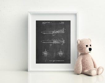 NASA Space Shuttle Enterprise Patent Poster, Outer Space, Space Art, Aerospace Engineer, EngineerGift, Science Poster Aviation Decor, PP0969