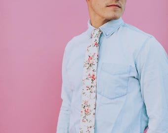 Cream Floral, Tie and Bow tie available