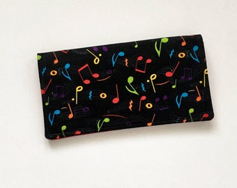Music Note Checkbook Cover, Music Checkbook Holder, Music Gift, Fabric Checkbook Case