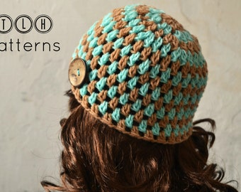 Crochet baby hat pattern, crochet baby beanie, baby hat pattern, Clusters and stripes beanie  - newborn to 3 years, Pattern No. 12