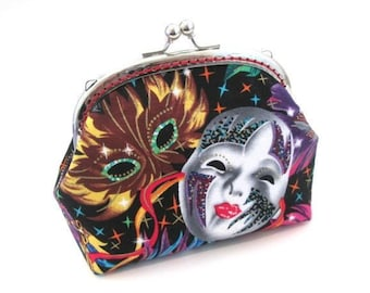 Frame bag, Mardi Gras mask cotton fabric, colorful carnival, silver kiss lock clasp, frame clutch bag, metal coin purse, makeup bag