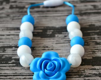 Silicone Flower Teething Necklace, Pearl Silicone Teething Beads, Toddler Sensory Necklace, Silicone Flower, White Pearl and Sky Blue
