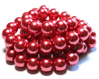 64 Glass Pearls, Pink Glass Pearls, Bright Pink Glass Pearls, Pink Pearls, Pink Glass Pearls, Bright Pink Pearls, 14mm Glass Pearl Beads